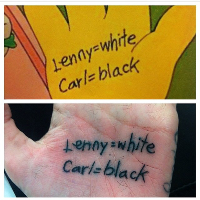 Lenny Carl Simpsons Tattoo