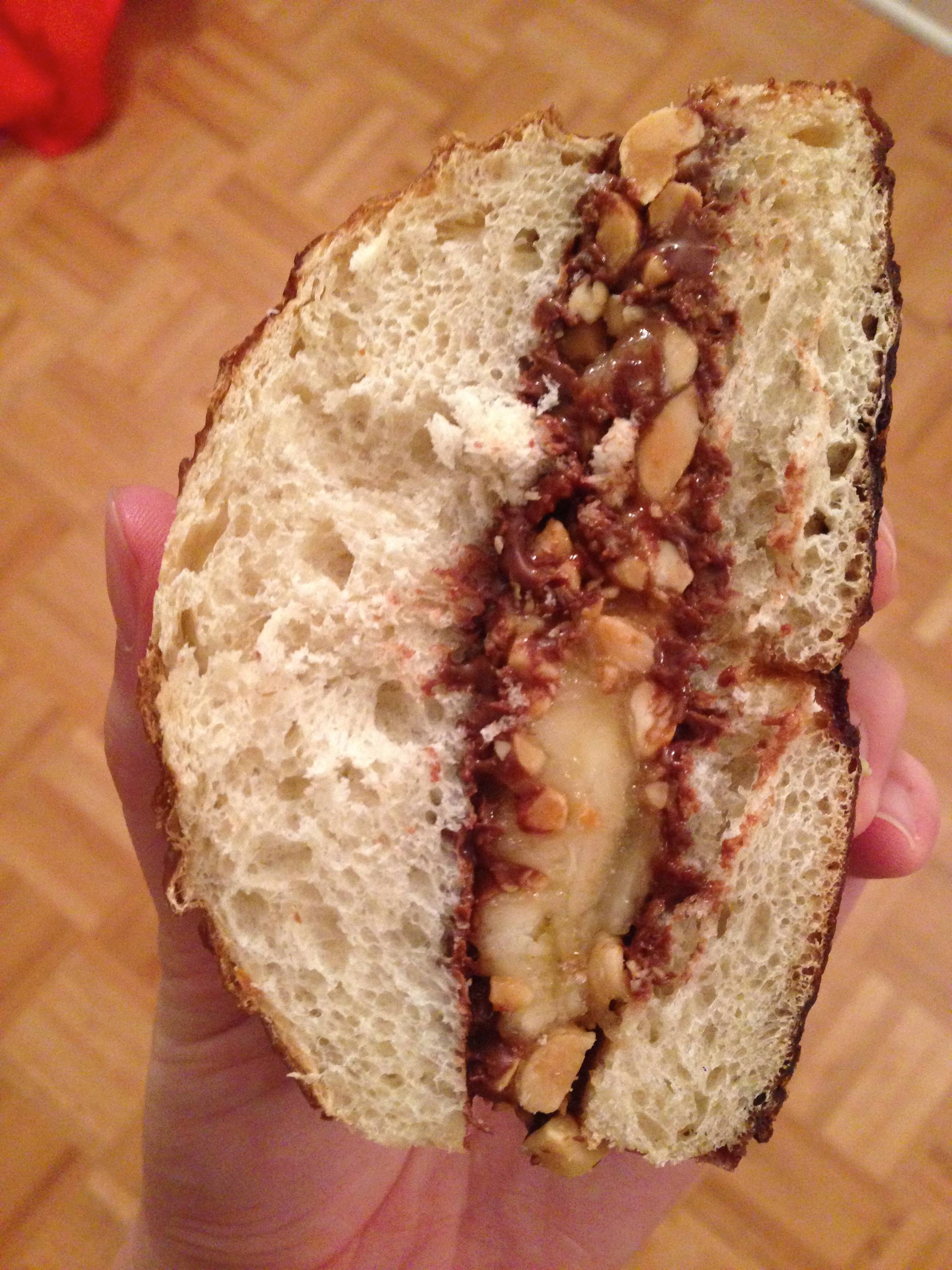 Nutella, Banana and Peanuts on Pretzel Bread