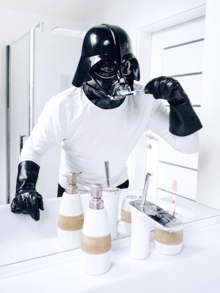 Darth Vader Brushing teeth